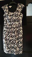 TALBOTS Semi-Sheath Dress Black White Roses Scoop Neck Sz 6 Cap Sleeve Adorable!