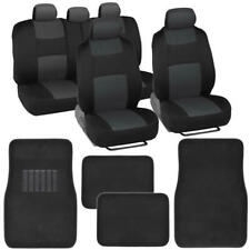 Split Bench Car Seat Covers Set + Carpet Floor Mats w/Headrest Covers Truck SUV