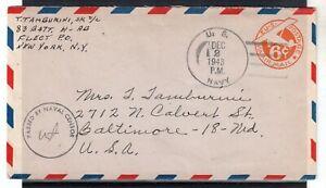 USA = WW2 1943 U.S. NAVY 6c Air Mail cover. Naval Censor cachet. . (Jy20qp)