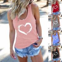 Women Summer Sleeveless T Shirt Casual  Loose Tank TopCrew Neck Floral Blouse