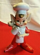 Vintage Kitchen Pixie Elf Coffee Pot Cup Pouring 6.5 Inches Tall Red White CUTE!