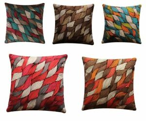 """Abstract Leaf Print Colourful 17"""" x 17"""" Cushion Cover Pillow Sofa Bed"""
