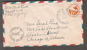 1944 WWII Naval censor cover Lt jg M H Pink Navy 248 Plymouth England to Chicago
