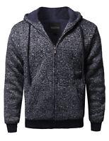 FashionOutfit Men's Classic Sherpa Lining Melange Color Drawstring Hoodie