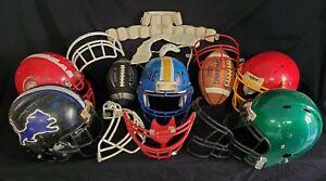 Lot of 5 Football Helmets Face Guards 2 Footballs Tee and Padding Riddell Schutt
