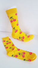 Cherry Socks Yellow Unisex Fruity Bright Hipster Gifts UK Size 6-9 EUR 38-43