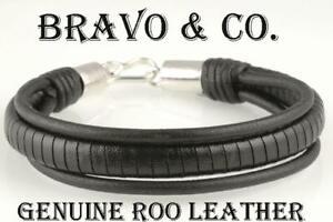 1B-096 Solid Sterling Silver & Kangaroo Leather Armband Wristband Men Bracelet.