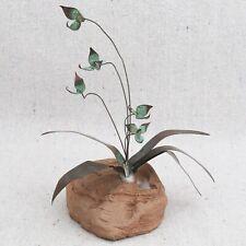Vintage Mid Century Modern Brutalist Copper Flower Plant Sculpture Pottery Base