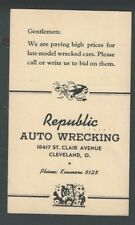 1942 Cleveland Oh Republic Auto Wrecking Buys Wrecked Cars