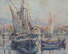 Georges CHAPPUIS (XX) Voiliers au port Aquarelle cote d'azur Saint Tropez ?