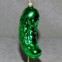 Christmas Ornament Glass PICKLE Food Green GERMANY RANA'S VARIETY USA SELLER