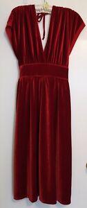 Stunning Monsoon Red Velvet Evening Dress Size 16 Glamour Va Va Voom