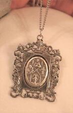 Delightful Silvertone Framed 4-Way Cross Scapular Protection Medal Necklace