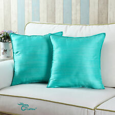 Set of 2 Cushion Covers Pillows Cases Aqua Striped Dyed Home Sofa Decor 45x45cm