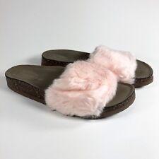 Steve Madden Womens 6 Faux Fur Softey Sandal Slide Brown Pink F4