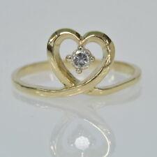 Ladies 14k Yellow Gold 1/10 Ct Single Diamond Heart Right Hand Estate Ring