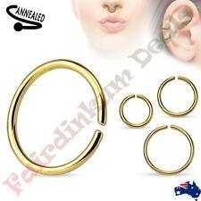 316L Surgical Steel Titanium Anodized Gold Annealed & Rounded Cut Nose Ring
