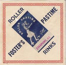 Vtg 1940s Foster's Pastime Roller Rinks Freeport Il Skating For Youthful Spirits