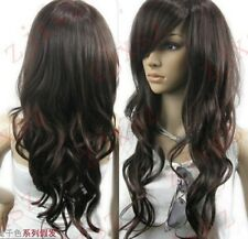 ZWJF83  CHARMING dark brown long WAVY hair wig wigs for women