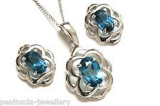 9ct White Gold London Blue Topaz Celtic Pendant and Earring Set Gift Boxed