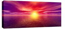 LARGE PURPLE RED SUNSET SEASCAPE MODERN CANVAS 44x20