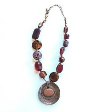 """CHICO'S Copper Red Statement Necklace Pendant Rustic Necklace 19""""  Beaded Fall"""