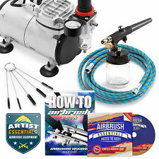 Starter Airbrush Kit Single Action Siphon Gun Air Compressor Crafts Hobby Art