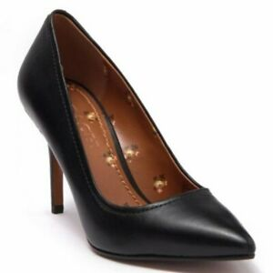 NEW inc Box COACH Waverly Leather Pointed Black Pumps Beechwood Size 10 $198 RSP
