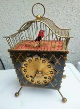 pendule ancienne avec cage a oiseau automate