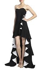 Badgley Mischka Womens Two-Tone Hi-Low Evening Dress - Size 6 / Black/White
