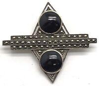 Vintage Oxidized Sterling Silver 925 Geometric Black Onyx Marcasite Pin - Brooch
