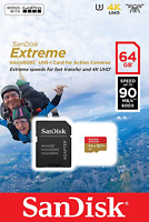 micro SD Sandisk Extreme 64GB GoPro Memory Card Class 10 Ultra High Speed UHS-I
