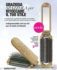 AVON ADVANCE TECHNIQUES SPAZZOLA COMPATTA CON SPECCHIETTO COLOR ORO ENTRA VISITA