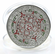 1pcs Sliver Plated Mayan Aztec Calendar Souvenir Coin Collection US