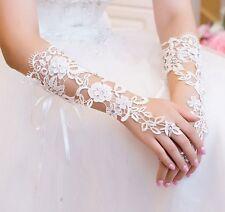 Gants blanc de luxe de mariée en dentelle sans doigts Accessoires mariage
