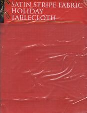 "NEW RED SATIN STRIPE HOLIDAY TABLECLOTH (60""X84""/OBLONG)"
