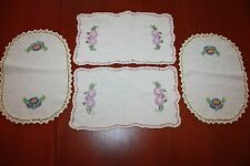 4 Vintage Hand Embroidered Table Centers Tray Cloths Doilie Kitchen tablecentre