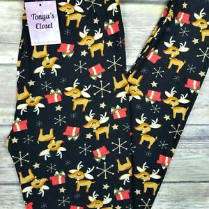 Reindeer And Snowflake Leggings Christmas Printed Buttery Soft ONE SIZE OS