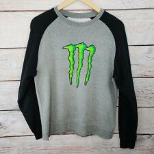 Monster Energy Men's Small Crewneck Raglan Sweater, Gray and Black, Big Logo