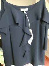 Navy Brand New John Rocha Top Cold Shoulder Ruffle  Size 12 FREE POSTAGE