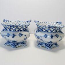 Pair Royal Copenhagen Blue Fluted Full Lace Open Sugar Bowls or  Low Vase #1113