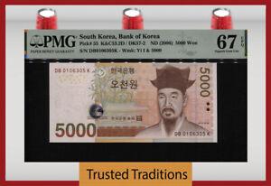TT PK 55 ND (2006) SOUTH KOREA BANK OF KOREA 5000 WON PMG 67 EPQ SUPERB GEM UNC.