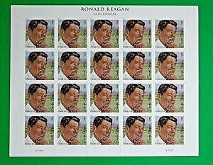 Centennial of Ronald Reagan Forever Stamps (Full Pane, 2011, USA, Scott 4494)