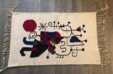 """Vintage Mid-century Joan Miro Wool Tapestry Upside Down Figures 43.5"""" x  26.5"""""""