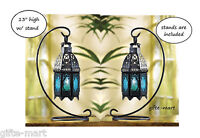 "2 Moroccan 8"" tall BLUE Candle holder Lantern Lamp light outdoor terrace patio"