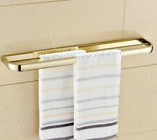 Gold Finish Solid Brass Double Towel Bars Wall Mounted Towel Rack Towel Hanger