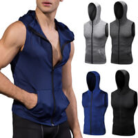 Men's Athletic Workout Hoodies Running Basketball Gym Sleeveless Dry fit Tops