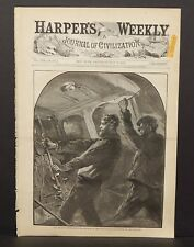 Harper's Weekly Cover The Meadow Brook Disaster Sticking to His Post 1873 B13#55