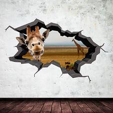 FULL COLOUR GIRAFFE SAFARI WILD CAVE CRACKED 3D WALL ART STICKER DECAL MURAL 6