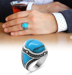 SOLID STERLING 925 SILVER MENS JEWELRY CABOCHON BLUE TURQUOISE MEN'S RING